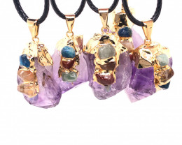 Chakra Amethyst Terminated Point Pendant - Parcel x 5 - BR 823