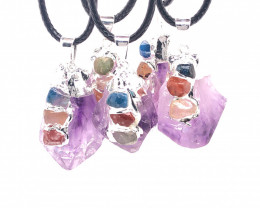 Chakra Amethyst Terminated Point Pendant - Parcel x 5 - BR 828