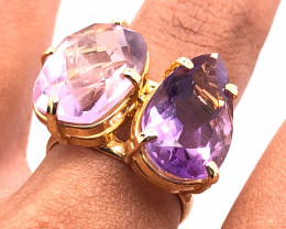 Beautiful Twin  Amethyst Stones Ring size  L 1/2 BR 2186