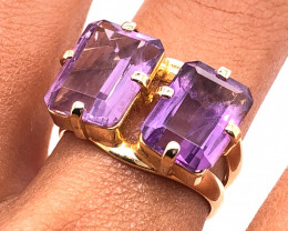 Beautiful Twin  Amethyst Stones Ring size  N 1/2   BR 2187
