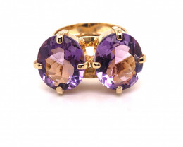 Beautiful Twin  Amethyst Stones Ring size   J 1/2 BR 2188