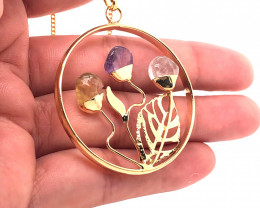 Happines Garden ,Amethyst.Citrine ,crystal , on chain BR 2198