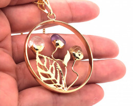 Happines Garden ,Amethyst.Citrine ,crystal , on chain BR 2199