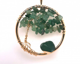 Happiness Green  Earthly Tree Of Life,gold ,chain necklace BR 2202