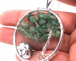 Happiness Green  Earthly Tree Of Life,silver  ,chain necklace BR 2203