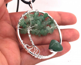 Happiness Green  Earthly Tree Of Life,silver ,black necklace BR 2204