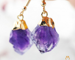 Raw Terminated Point Amethyst Drop Earrings BR 2207