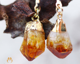 Raw Terminated Citrine Gemstone, long Drop Earrings BR 2208