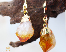 Raw Terminated Citrine Gemstone, long Drop Earrings BR 2209