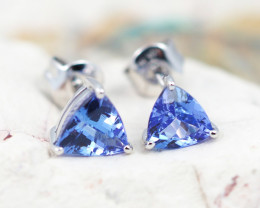 Natural Tanzanite in Gold 10K Earrings F5C