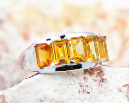Natural Bright Gem Citrine in Silver Ring  Size N.5  F13C