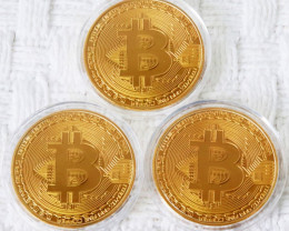 3 x Bitcoins encased  in Capsule Gift Art Collection