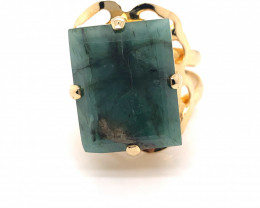 Natural Brazilian Emerald in Gold Plated ring  size Adjustable  N  BR 2222