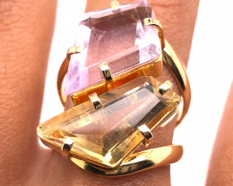 Natural Brazilian Dual Quartz in Gold Plated ring size O 1/2 BR 2225