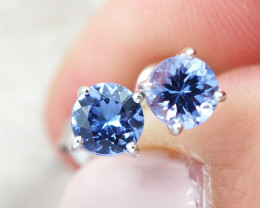 Natural Tanzanite in Silver Earings F22C