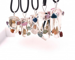 Parcel 5 x Colorful Crystal Terminated Point Pendant BR 857