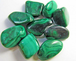 Beautiful Tumbled  Malachite stones  GG 1401