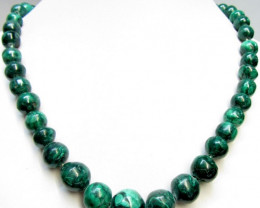 Stunning strand natural malachite beads GG 1497