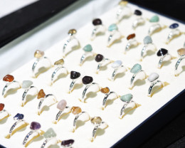 x36 set Tumbled Raw Gemstone Silver Plated Rings BR 870