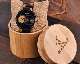 Wooden Watch - Multiple Time Zone - Black & Yellow - W004