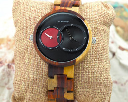 Wooden Watch - Multiple Time Zone - Black & Red - W006