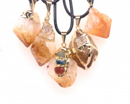 Parcel 5 x Mixed Citrine Terminated Point Golden Pendants - BR 907