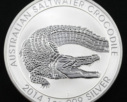 2014 Salt water crocodile One Ounce Silver Coin