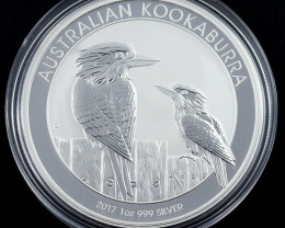 2017 Australian Kookaburra one ounce 99.9% pure silver-No Buyers Premium