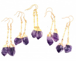 5 x Terminated Point Amethyst Gemstone Drop Earrings - BR 939