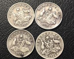 Pre War .925 Silver three pence parcel 4 coins J 2680