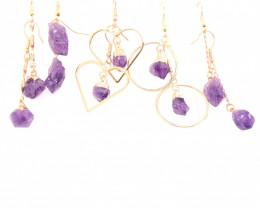 5x Raw Beautiful Amethyst Earrings BR 2253