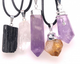 Five Natural Holistic Gemstone Pendants BR 2256