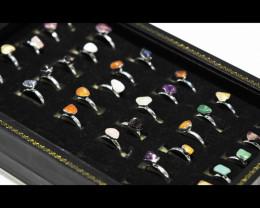 x30 set Raw Gemstone Silver Plated Rings - BR 973