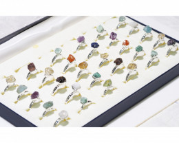 x30 set Rough Raw Colorful Gemstone Silver Plated Rings - BR 976