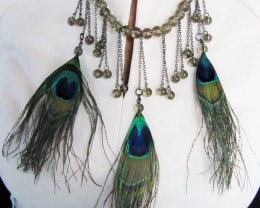 FASHION PEACOCK FEATHES  STYLE  NECKLACE   QT216