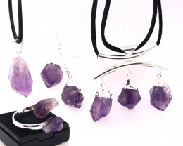 Amethyst lovers Four PieceJewelry Set Br 2277