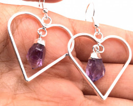 Raw Beautiful Love Heart Amethyst Earrings n Pendant BR 2289