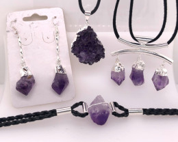 Amethyst Lovers Four Piece Jewelry Set - BR 1011