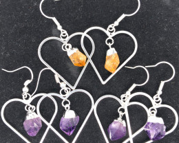 3x Heart Designs Raw 2 x Amethyst 1 x Citrine Earrings BR 2311