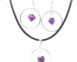 Terminated Point Amethyst Gemstone Pendant n Earrings BR 2314