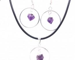 Terminated Point Amethyst Gemstone Pendant n Earrings BR 2314
