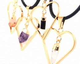4x Heart Designs Raw Crystal, Amethyst , Citrine ,Tourm Pendants BR 2324