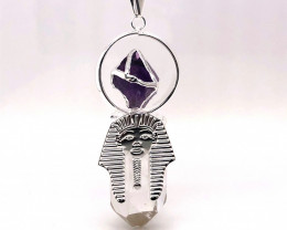 Pharaoh Crystal Terminated Point & Amethyst Pendant - BR 1078