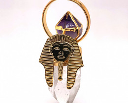 Pharaoh Crystal Terminated Point & Amethyst Gold Pendant - BR 1081