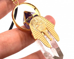 Pharaoh Crystal Terminated Point & Amethyst Gold Pendant - BR 1082