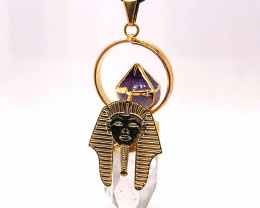 Pharaoh Crystal Terminated Point & Amethyst Gold Pendant - BR 1083
