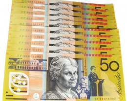 TEN UNC $50 NOTES SF 09614284 TO 09614293 CO1024