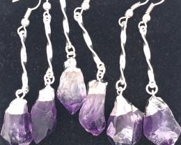 3 x Terminated Point Amethyst Gemstone Drop Earrings - BR 1111