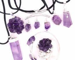 Amethyst Lovers Seven Piece Jewelry Set - BR 1117