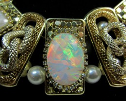 STUNNING MAN MADE OPAL   STYLE  NECKLACE    QT240